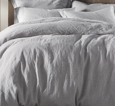 Coycuhi Organic Linen Chambray Pillowcases and Shams in Fog Chambray