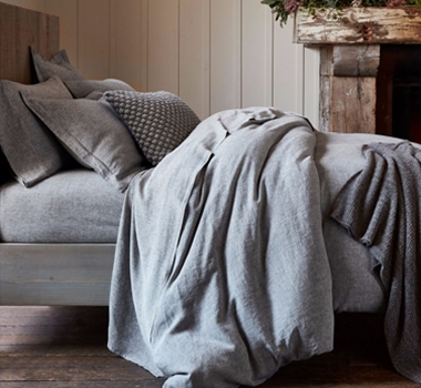 Coyuchi Organic Linen Chambray Pillowcases and Shams in Soft Black Chambray