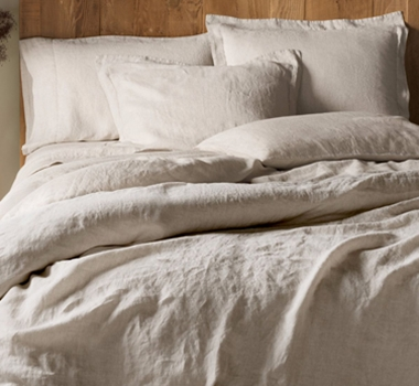Coyuchi Organic Linen Chambray Pillowcases and Shams in Natural Chambray