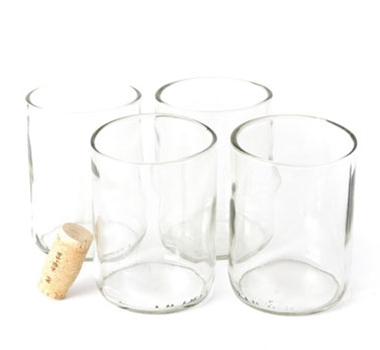 Recycled Wine Bottle Short Flat Bottom Drinking Glasses in Clear (Set of 4)