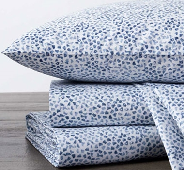 Coyuchi Sea Glass Printed Organic Cotton Sheet Set - Blues