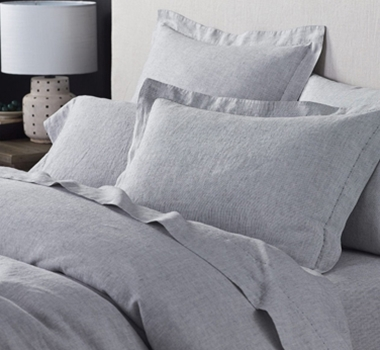 Coyuchi Organic Linen Chambray Duvet Cover in Charcoal Stripe
