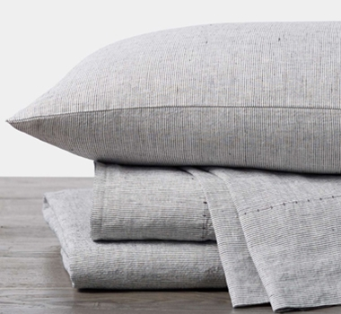 Coyuchi Organic Linen Chambray Sheet Set in Charcoal Stripe