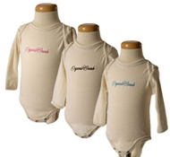 Organic Crush Embroidered Long Sleeve Ribbed Baby Onesie (Orig. $30, On Sale $25)