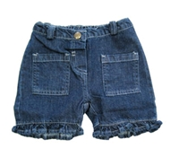 UP Organic Denim Toddler Ruffle Shorts