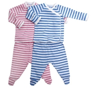 Organic Baby Striped Side Snap Set (Pink Only)