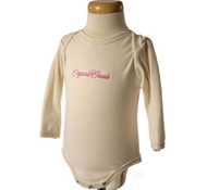 Embroidered Long Sleeve Ribbed Baby Bodysuit in Blossom Pink
