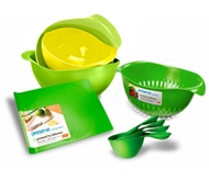 Preserve BPA-Free Kitchen Starter Set (Includes 3 Mixing Bowls, 1 Small Cutting Board, 1 Small Colander, and 4 Measuring Cups)