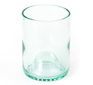 Recycled Wine Bottle Short Drinking Glasses in Aqua - 12 oz. (Set of 4)