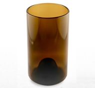 Recycled Wine Bottle Tall Drinking Glasses in Amber - 16 oz. (Set of 4)