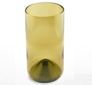Recycled Wine Bottle Tall Drinking Glasses in Olive Green - 16 oz. (Set of 4)