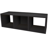 Triple Cubby Storage Bench in Black