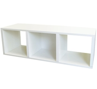 Triple Cubby Storage Bench in White