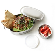 Stainless Steel Oval Two-In-One Bento Lunch Box