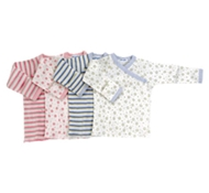 Twenty-four Seven Organic Cotton Long Sleeve Side Snap Baby T-shirt (Blue Stripes Only Avail).