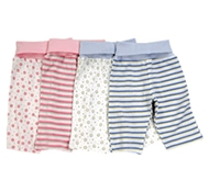 Twenty-four Seven Organic Cotton Rolled Waist Baby Pants (Blue Stripes Only Avail)