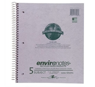 Recycled 5 Subject College Ruled Notebook