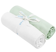 Organic Cotton Swaddle Blankets (Set of Two) - White & Green