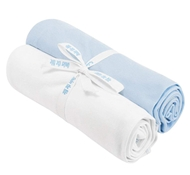 Organic Cotton Swaddle Blankets (Set of Two) - Off White & Ice Blue