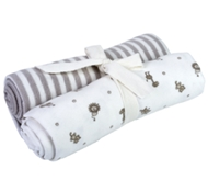 Organic Cotton Swaddle Blankets (2 Pack) - Tan Stripe & Animal Print