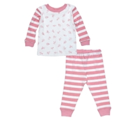 Organic Cotton Baby Long Johns in Pink Stripe