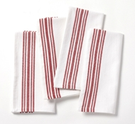Organic Cotton Farmhouse Napkins in Alpine White w/Crimson (Set of 4)