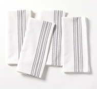 Organic Cotton Farmhouse Napkins in Alpine White w/Deep Pewter (Set of 4)
