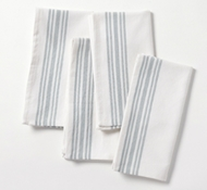 Organic Cotton Farmhouse Napkins in Alpine White w/Mid Dusty Aqua (Set of 4)