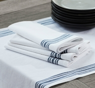 Organic Cotton Farmhouse Napkins in Alpine White w/ Midnight (Set of 4)
