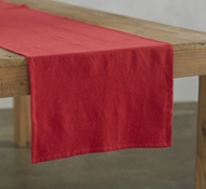 Organic Cotton Farmhouse Table Runner in Crimson