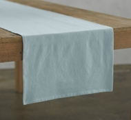 Organic Cotton Farmhouse Table Runner in Mid Dusty Aqua