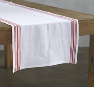 Organic Cotton Farmhouse Stripe Table Runner in Alpine White w/Crimson