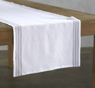 Organic Cotton Farmhouse Stripe Table Runner in Alpine White w/Deep Pewter