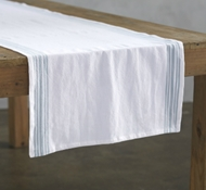 Organic Cotton Farmhouse Stripe Table Runner in Alpine White w/Mid Dusty Aqua