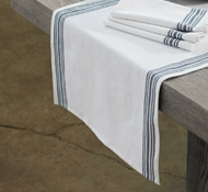 Organic Cotton Farmhouse Stripe Table Runner in Alpine White w/Midnight