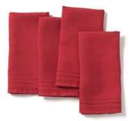 Pure Linen Eyelet Napkins in Crimson (Set of 4)