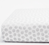Coyuchi Organic Cotton Hedgehog Printed Fitted Crib Sheet in Gray