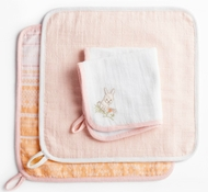 Coyuchi Organic Cotton Muslin Wash Cloth Set - Bunny