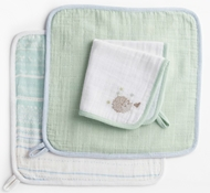 Coyuchi Organic Cotton Muslin Wash Cloth Set - Hedgehog