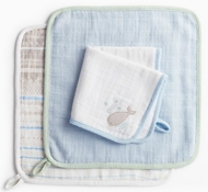 Coyuchi Organic Cotton Muslin Wash Cloth Set - Whale