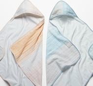 Coyuchi Organic Cotton Pebble Stripe Hooded Towel