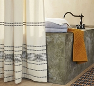 Coyuchi Organic Cotton Rippled Stripe Shower Curtain