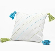 Organic Cotton Tassel Decorative Pillow in Cool Blue