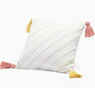 Organic Cotton Tassel Decorative Pillow in Warm Pink