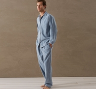 Men's Cloud Brushed Flannel Pajama Set in Blue Heather