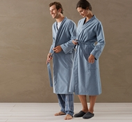 unisex cloud brushed flannel robe in blue heather - Mens Bathrobes