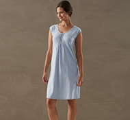 Coyuchi Women's Solstice Short Sleeve Nightshirt in Sky