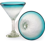 Maya Recycled Martini Glass - Set of 2 - Aquamarine