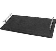 Slate Tray with Stainless Steel Handles