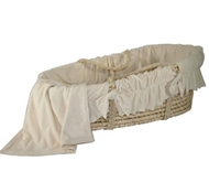 Ultimate Green Baby Moses Basket with Organic Velour Bedding